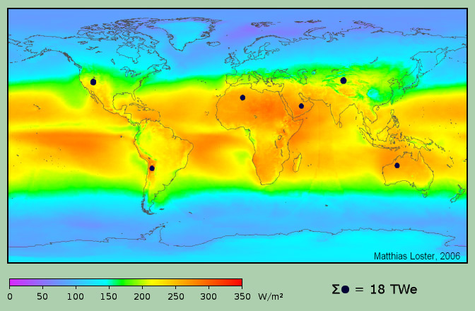 Image of worldwide distribution of solar energy influx (Wikimedia Commons)