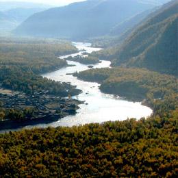 photo of extensive woodlands along the Yenisey river in Siberia. © Verhovya Eniseya
