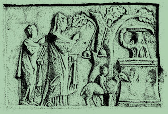 Offering at a altar to Cybele under a sacred tree. Drawing of an ancient Greek altar stone