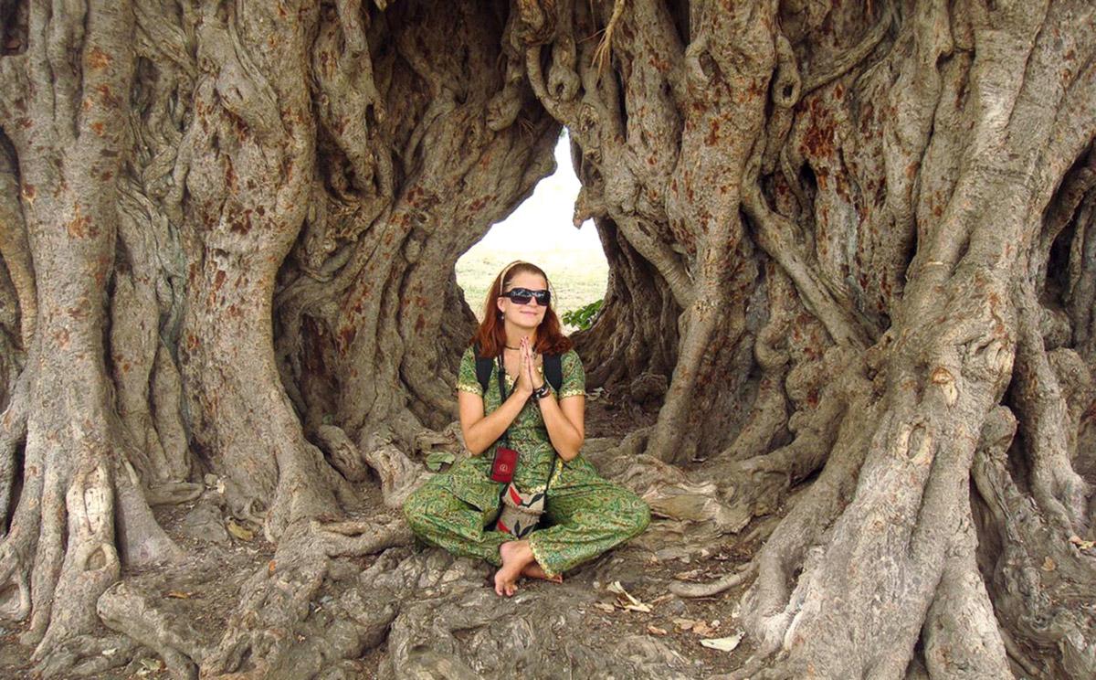 Young female pilgrim sitting cross-legged in Buddhas Bodhi tree, Bodh Gaya, Bihar, India. © Lisann Drews