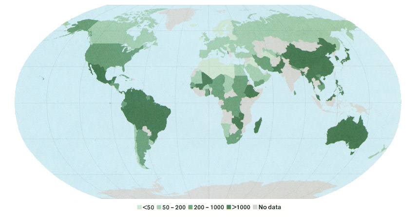 world map: Number of native tree species (2005)