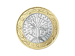 World Tree symbolism on the backside of the French 1-Euro coin