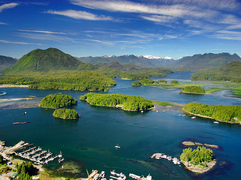 aerial view of Clayoquot Sound at Tofino village. © Russ Heinl/shutterstock.com
