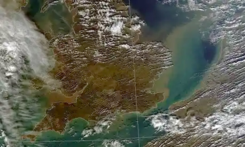 This satellite image from 16 Feb 2014 shows where the UK's soil goes once it's washed off our fields: into the surrounding sea. © Dundee Satellite Receiving Station