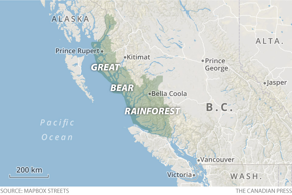 map of the Great Bear Rainforest. © The Canadian Press